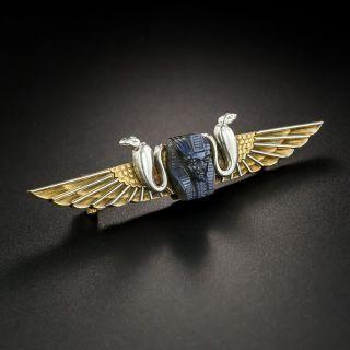 Victorian Egyptian Revival Labradorite Brooch - 2