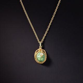 Victorian Egyptian Revival Turquoise Scarab Snake Pendant - 1