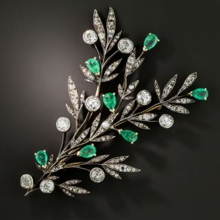 Victorian Emerald and Diamond Branch Brooch - 2