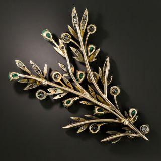 Victorian Emerald and Diamond Branch Brooch