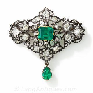Victorian Emerald and Diamond Brooch - 1