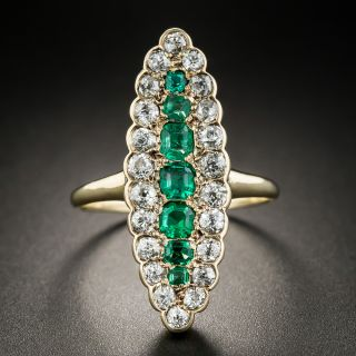 Victorian Emerald and Diamond Dinner Ring - 2