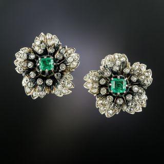 Victorian Emerald and Diamond Flower Earrings - 3