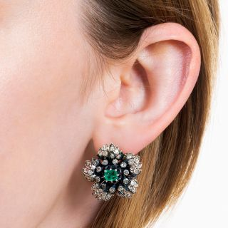 Victorian Emerald and Diamond Flower Earrings