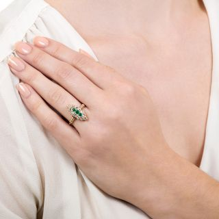 Victorian Emerald and Diamond Navette Ring