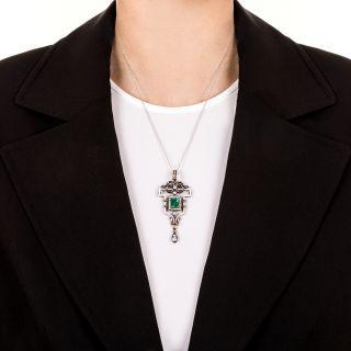 Victorian Emerald and Diamond Pendant