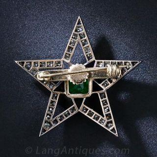 Victorian Emerald and Diamond Star Brooch / Pendant