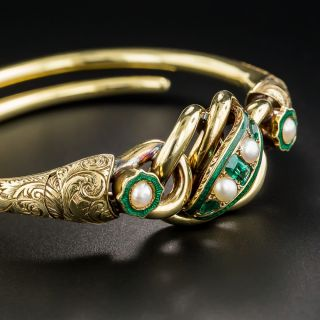 Victorian Emerald and Pearl Bangle Bracelet