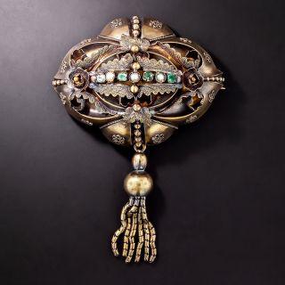 Victorian Emerald and Pearl Tassel Brooch/Pendant - 1