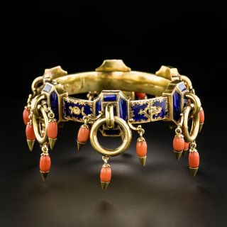 Victorian Enamel And Coral Bangle Bracelet