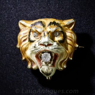 Victorian Enamel and Diamond Tiger Pin - 1