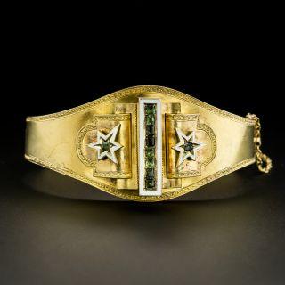 Victorian Enamel and Green Beryl Bangle Bracelet - 1