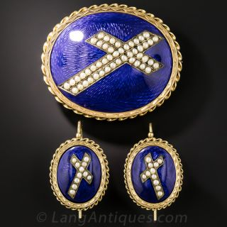 Victorian Enamel and Seed Pearl Brooch and Earring Set
