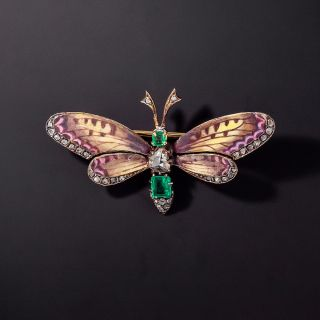 Victorian Enamel Butterfly with Emeralds and Diamonds - 0