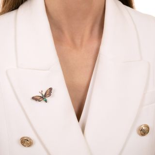 Victorian Enamel Butterfly with Emeralds and Diamonds