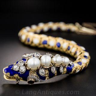 Victorian Enamel Diamond Natural Pearl Snake Bracelet