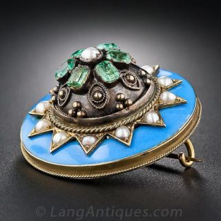 Victorian Enamel, Seed Pearl and Emerald Pin - 1