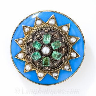 Victorian Enamel, Seed Pearl and Emerald Pin