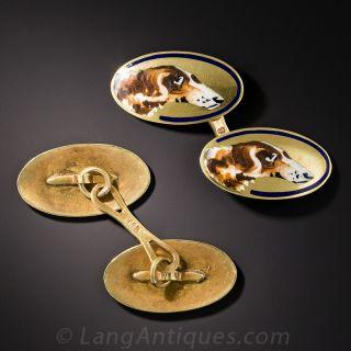 Victorian Enameled Dog Motif Cufflinks