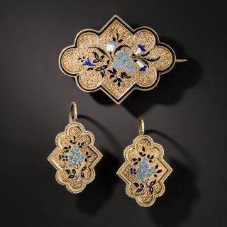 Victorian Enameled Earrings and Brooch Set - 2