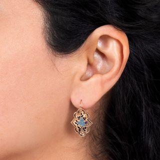 Victorian Enameled Earrings and Brooch Set