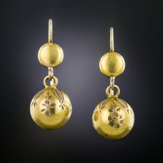 Victorian Engraved Ball Earrings - 2