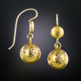 Victorian Engraved Ball Earrings