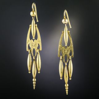 Victorian Engraved Celtic Top Dangle Earrings - 2