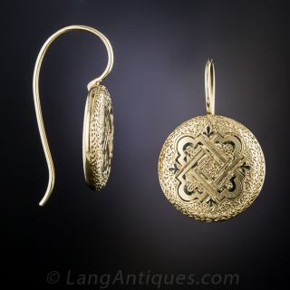 Victorian Engraved Enamel Earrings