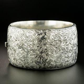Victorian Engraved Foliate Motif Silver Bangle Bracelet - 2