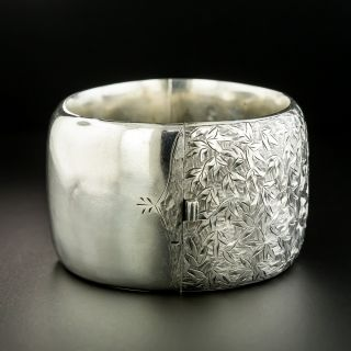 Victorian Engraved Foliate Motif Silver Bangle Bracelet