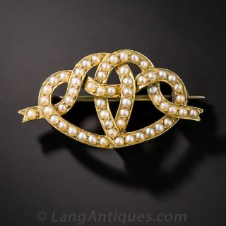 Victorian Entwined Hearts Brooch - 1