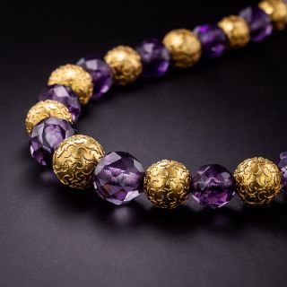 Victorian Etruscan Revival Amethyst Bead Necklace - 1