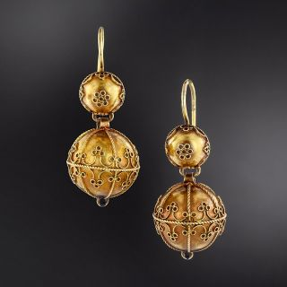 Victorian Etruscan Revival Ball Dangle Earrings - 1