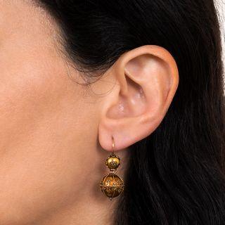 Victorian Etruscan Revival Ball Dangle Earrings