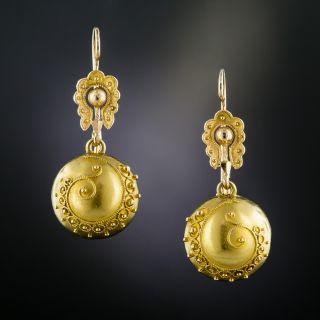 Victorian Etruscan Revival Ball Earrings - 2