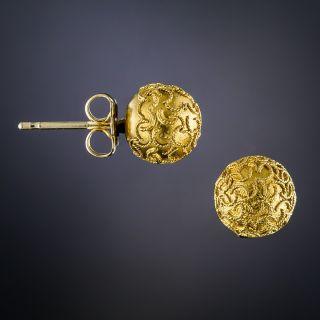 Victorian Etruscan Revival Ball Stud Earrings