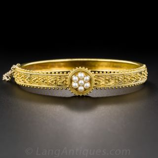 Victorian Etruscan Revival Bangle Bracelet with Pearls