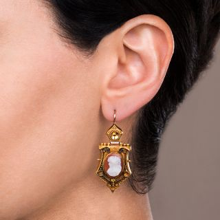 Victorian Etruscan Revival Cameo Earrings