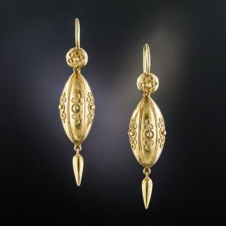 Victorian Etruscan Revival Cannetille Drop Earrings - 2