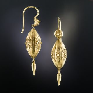 Victorian Etruscan Revival Cannetille Drop Earrings