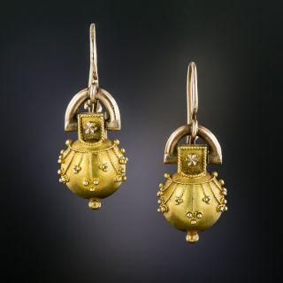 Victorian Etruscan Revival Drop Earrings - 4
