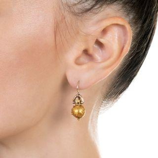 Victorian Etruscan Revival Drop Earrings