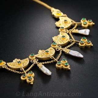 Victorian Etruscan Revival Emerald and Pearl Necklace