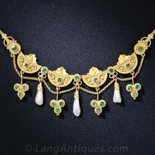 Victorian Etruscan Revival Emerald and Pearl Necklace - 3
