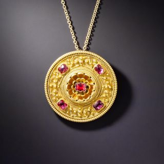 Victorian Etruscan Revival Red Spinel Pendant Necklace - 1