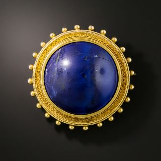 Victorian Etruscan Revival Round Lapis Brooch - 2
