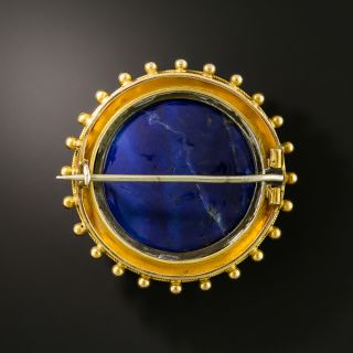 Victorian Etruscan Revival Round Lapis Brooch