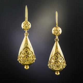 Victorian Etruscan Style Drop Earrings - 2