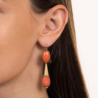 Victorian Faceted Coral Drop Day and Night Earrings